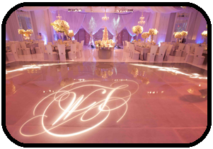 Tampa Wedding DJ logo lighting for wedding reception